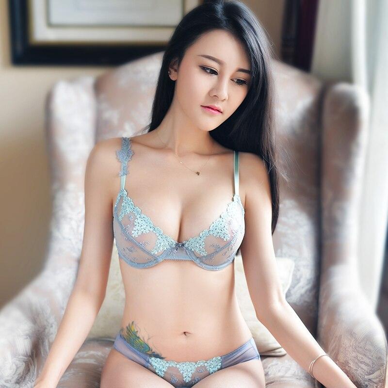 Shaonvmeiwu Sexy Bud Embroidery Ultra Thin Net Gauze Transparent Bra Set Bra Set Tee Pants