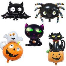 METABLE 5PCS Halloween Foil Balloons Black Cat Ghost Bat Balloon Decoration Party Supplies