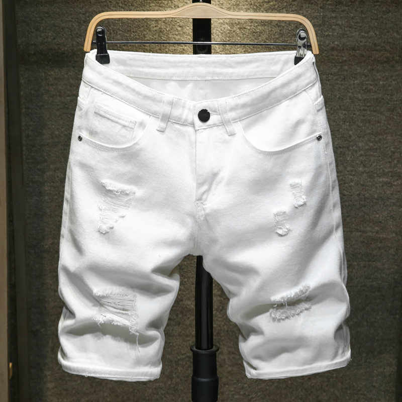 2020 New Summer White Black Men Denim Shorts Slim Large Size Casual Knee Length Short Hole Jeans Shorts For Men Bermuda