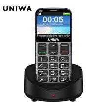 Oude Man Mobiele Telefoon 3G Sos Knop 1400 Mah 2.31 3D Gebogen Scherm Mobiel Zaklamp Torch Mobiele Telefoon Voor ouderen Uniwa V808G