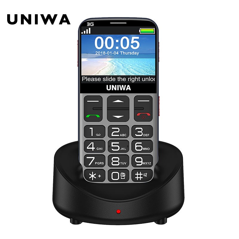 Velho telefone móvel 3g sos botão 1400 mah 2.31 3d tela curvada celular lanterna tocha telefone celular para idosos uniwa v808g