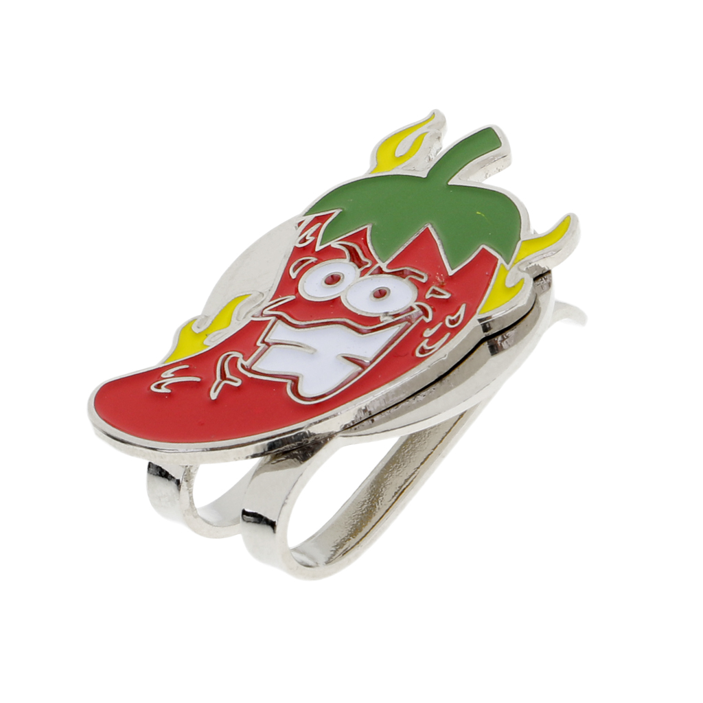 Sturdy Cartoon Chilli Magnetized Hat Clip Golf Ball Marker Fit For Golf Cap Visor