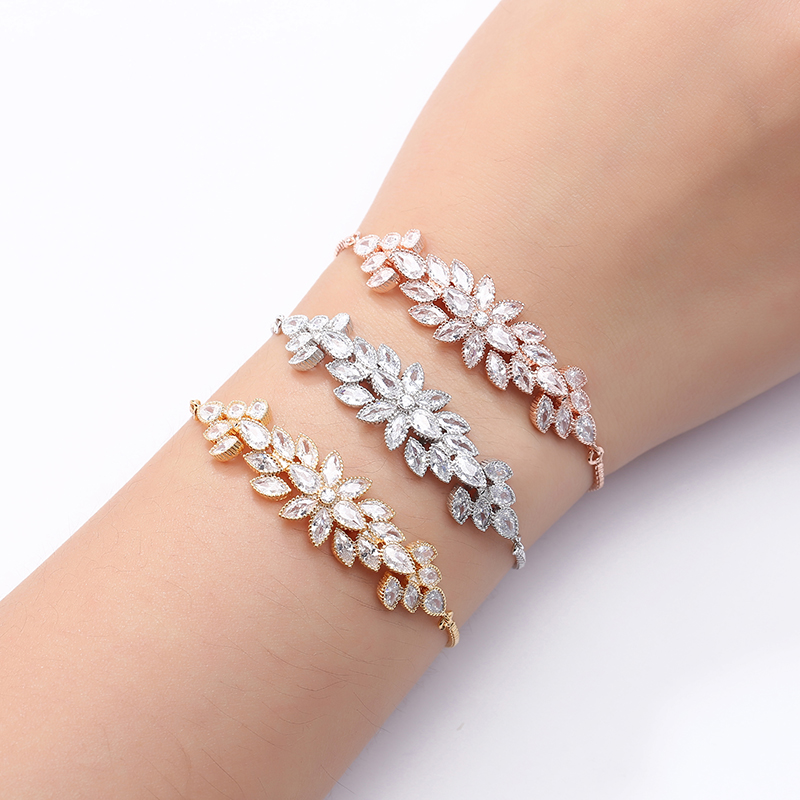 Bracelet NANKIYA Elegant Creative Flower And Leaves Design High Quality Zircon Women Wedding Party Hand Jewelry SL1168 Pulsera