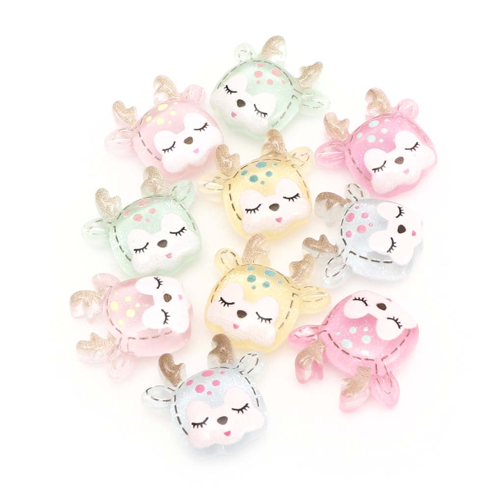 10 Pcs Fawn Resin Cute Crafts Home Decoration Hair Rope Mobile Phone Shell Decoration Accessories Scrapbook Craft