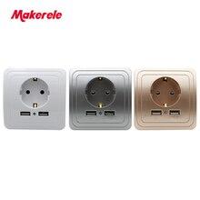 Makerele Power Outlet EU Standard 16A 250V Wall Socket with 5V 2A dual USB ports 86type