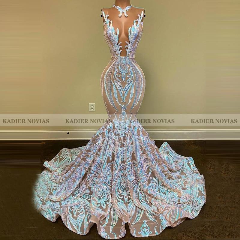 KADIER NOVIAS женское длинное белое платье русалки для выпускного вечера 2021 прозрачное кружевное вечернее платье со шлейфом и блестками