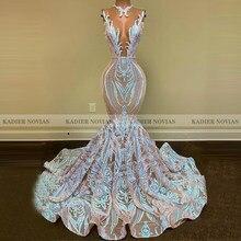 KADIER – robe De bal De forme sirène pour femmes, robe longue blanche en dentelle, col transparent, paillettes, traîne, 2021