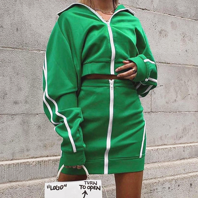 InstaHot Green Stripe Side Two Piece Set Zipper Up Stand Collar Crop Top Short Skirt Casual Women Autumn High Street Tracksuit