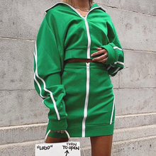 InstaHot Green Stripe Side Two Piece Set Zipper Up Stand Collar Crop Top Short Skirt Casual Women Autumn High Street Tracksuit instahot grey tracksuit reflective flash side zip buckle women two piece set autumn crop top cargo pants casual streetwear sets