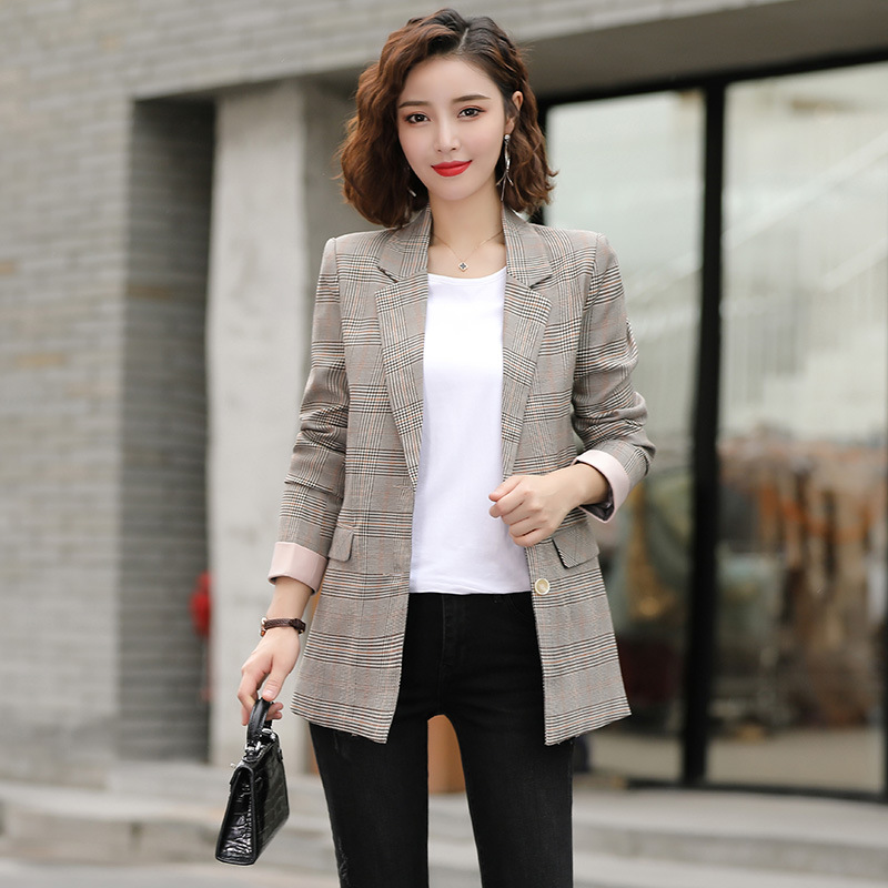Women's Jacket 2019 Spring And Autumn New Casual Fashion Temperament Wild Plaid Single-breasted Small Suit Women's Clothing