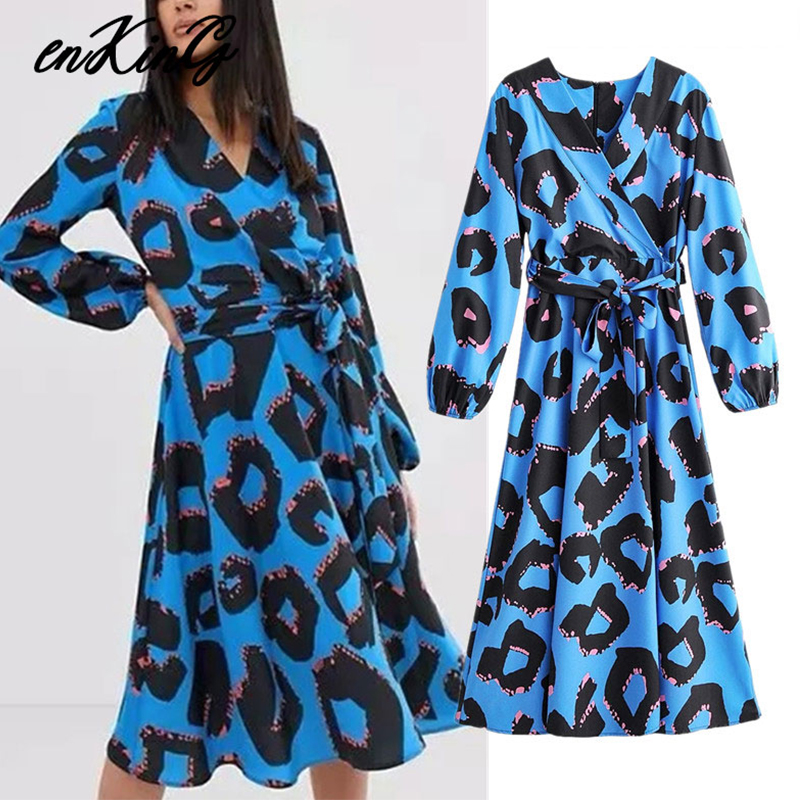 2019 Women Fashion Print Maxi Za Dress V Neck Bow Tie Sashes Long Sleeve One Piece Female Ankle Length Dresses Vestidos