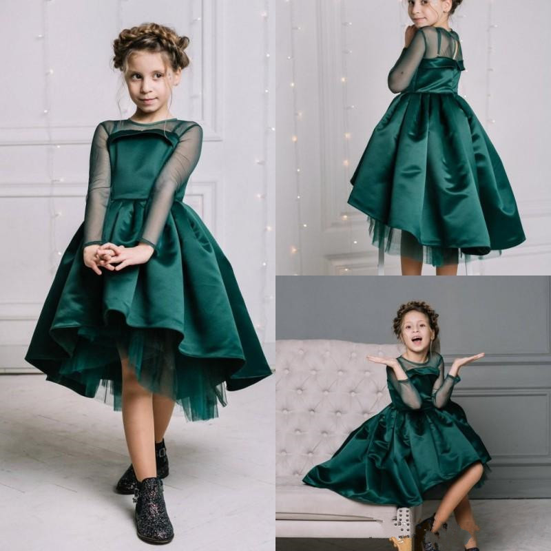New Design Green Satin High Low   Flower     Girl     Dress   For Wedding Illusion Long Sleeves Sheer Neck Custom Made Kids Pageant Gowns