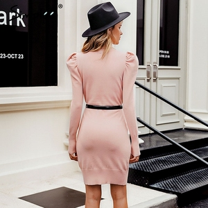 Image 4 - Simplee Turtle neck bodycon winter knitted women dress Puff shoulder pink sweater dress female Sexy ladies solid autumn vestidos