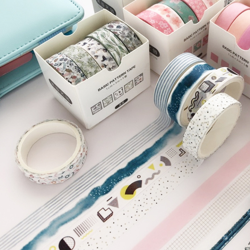 5 Pcs Striped/Grid/Flowers Washi Tape Set Decoration Sticker Scrapbooking Diary Adhesive Masking Tape Stationery School Supplies
