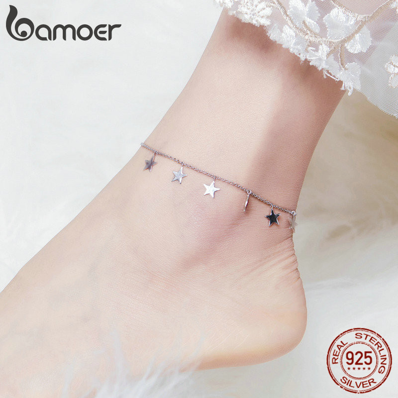 bamoer Bright Stars Chain Silver Anklets for Women Sterling Silver 925 Fashion Leg Jewelry Bracelet for Foot 2019 Summer SCT008