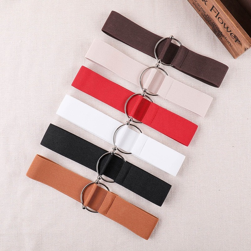 2020 New Good Elastic Women's Belt Black Simple Waist Band Round Buckle Decoration Coat Sweater Fashion Dress Off White Belt