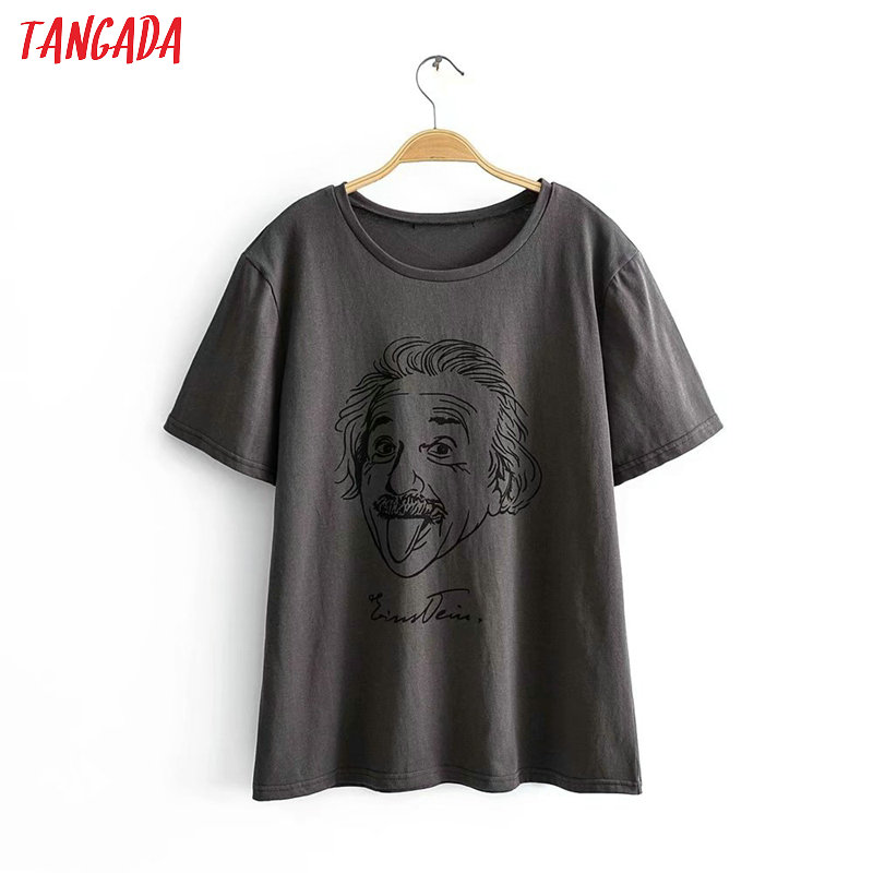 Tangada Women Oversized Character Print Gray Cotton T Shirt Short Sleeve 2020 Summer Tees Ladies Casual Top 2R05