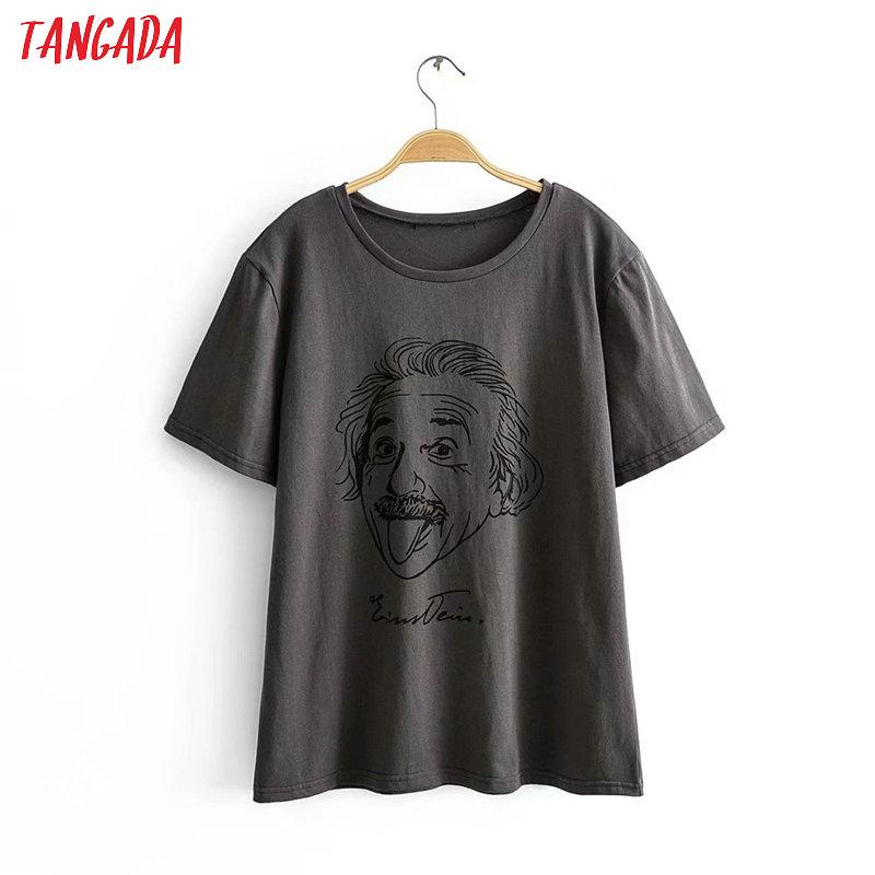 Tangada Women Oversized Character Print Gray Cotton T Shirt Short Sleeve 2020 Summer Tees Ladies Casual Top 2R05