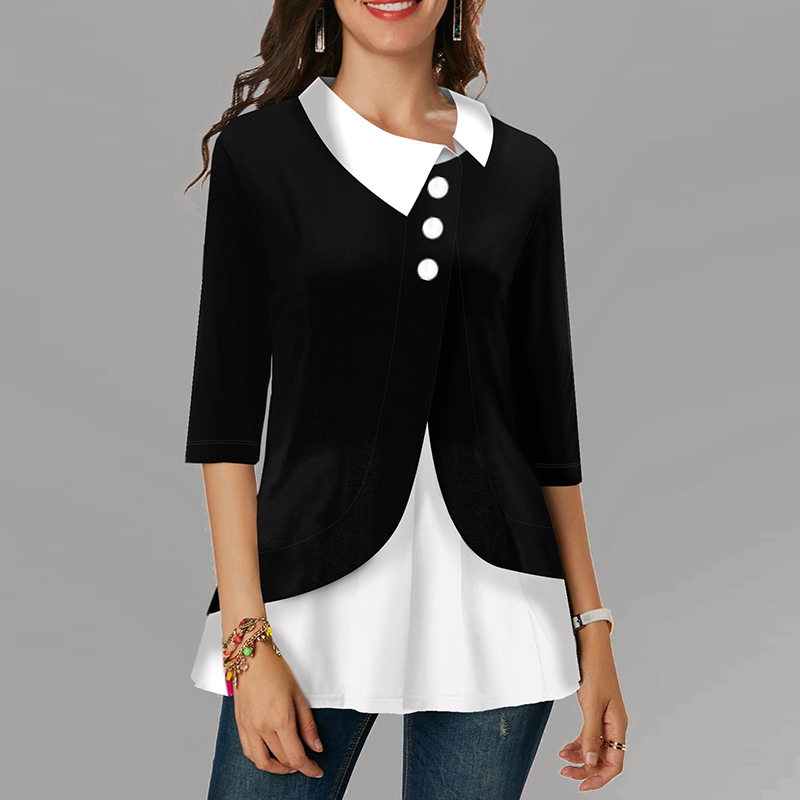 Patchwork Plus Size Women Blouse Turn Down Collar Three Quarter Cotton Womens Tops And Blouses Irregular 2020 Spring Tunic