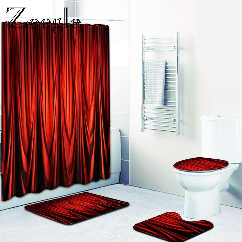 Zeegle Shower Curtain Bath Mat Set Anti Slip Bathroom Carpet Waterproof Bathroom Curtain Washable Bathroom Cover Toilet Mat Set