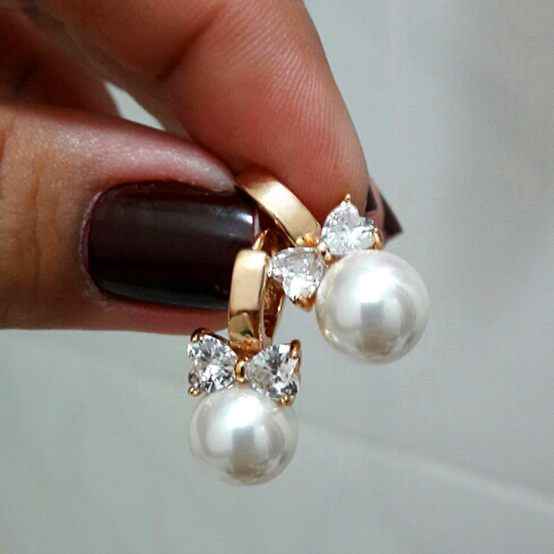 Freshwater Pearls Earrings Women Crystal Gift Hand Made Pearl Earings African Gold Hoops Bijoux Perle Brincs Ouro Kolczyki E0310
