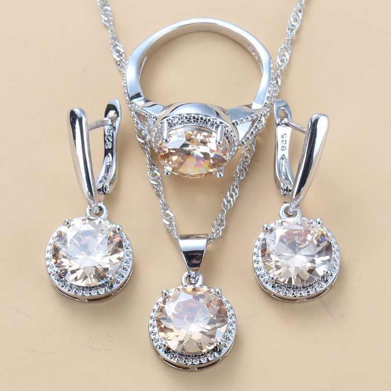 Damen Schmuckset 925 Silber Halskette Ohrringe Zirkon Wassertropfen Necklace Neu