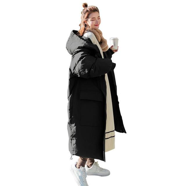 Long Down Cotton Jacket Women Winter Parka Coat Hooded Loose Warm Oversize Winter Jacket Thicken Padded Women Winter Coat Q1885