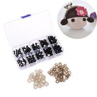 100 unids/caja negro 6-12mm de plástico de Ojos de seguridad para muñeca de peluche Animal Amigurumi DIY Accesorios