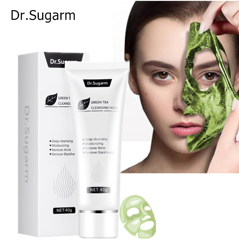 40g Dr.Sugarm Green Tea Blackhead Face Mask  Skin Care Remove Acne Nose Deep Cleansing  Pore Strip  Moisturizing Peel Black Mask