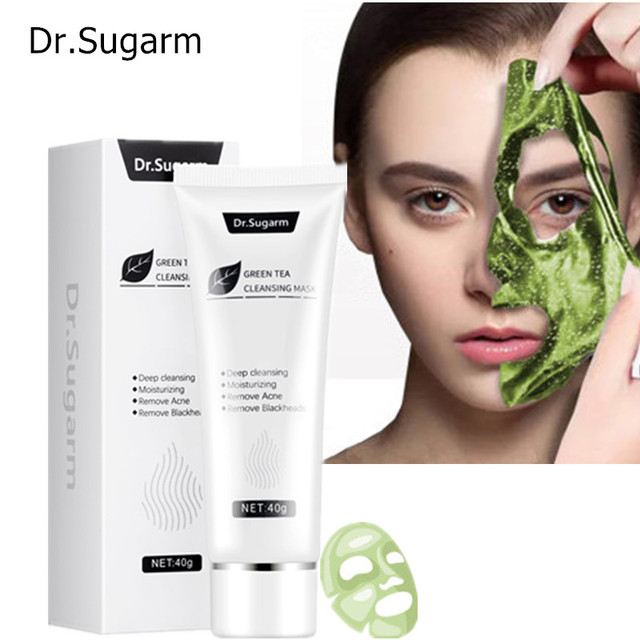 40g Dr.Sugarm Green Tea Blackhead Mask  Skin Care Remove Acne Nose Deep Cleansing  Pore Strip  Moisturizing Peel Mask