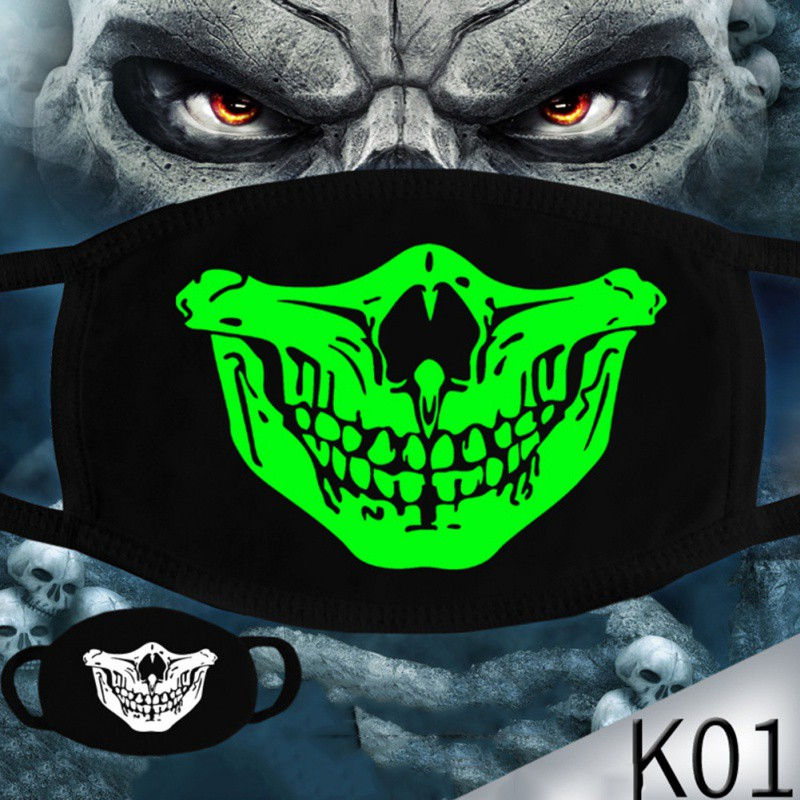 Woman Men Glow Dark Skull Scarey Masks Black Mouth Half Face Masquerade Cosplay Costume Mask DIY Party Decorations Halloween