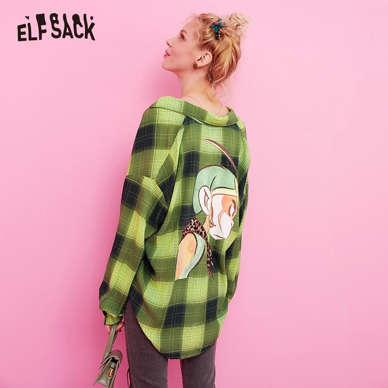 ELF sac Plaid rayé Carton imprimé blouse décontractée chemise haut pour femme 2019 automne vert à manches longues Vintage dames Blouses