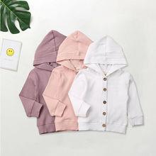 Новая осенне-зимняя одежда для новорожденных и маленьких девочек 0-24 мес., куртки, толстовка с пуговицами, пальто, вязаная куртка в рубчик, пальто для девочек, верхняя одежда