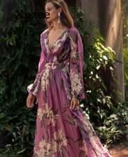 Женское фиолетовое платье макси в стиле бохо пляжные вечерние