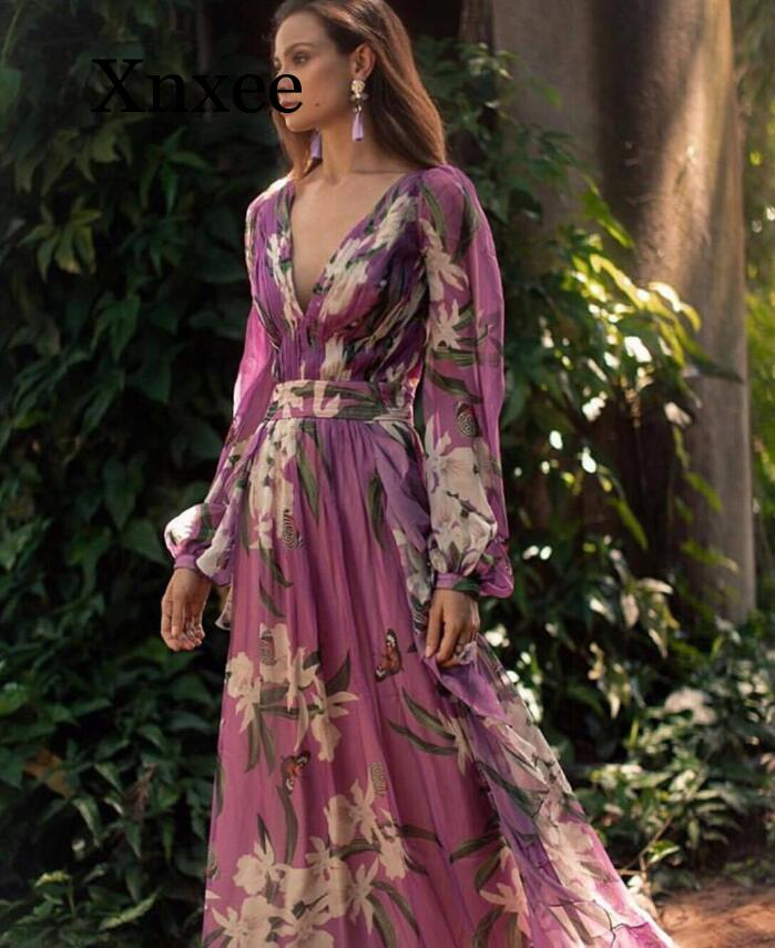 Purple Woman Boho Maxi Dress Beach Party Plus Size Chiffon Summer  Dress Ladies Sexy V Neck Long Floral Print Summer Dresses