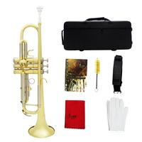 Gold & Silver Two tone Trumpet Bb Flat Brass Gold painted with Storage Case Cleaning Brush Gloves