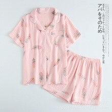 Yeni yaz kısa kollu gömlek kadınlar için pijama % 100% pamuk krep karikatür tüy baskı pijama turn aşağı yaka ev takım elbise
