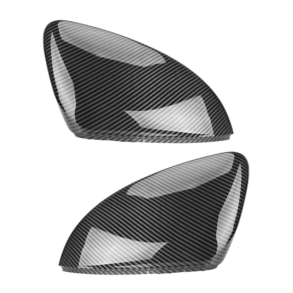 2 ชิ้นสำหรับ VW Golf MK7 7.5 GTI 7 7R กระจกครอบคลุมหมวกกระจกมองหลังกรณีคาร์บอนไฟเบอร์ดูสดใสสีดำโครเมี่ยม