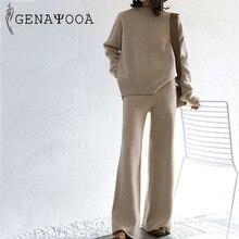 Genayoa Зимний спортивный костюм 2 шт. брючные костюмы для женщин вязаный длинный рукав комплект из двух предметов топ и брюки женский костюм Верхняя одежда Корейский