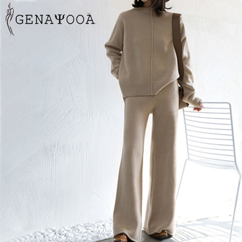 Genayooa Winter Elegent 2 Piece Pant Suits For Women Knitted Long Sleeve Two Piece Set Top And Pants Women Suit Outwear Korean