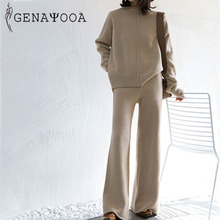 Genayooa Winter Tracksuit 2 Piece Pant Suits For Women Knitted Long Sleeve Two Piece Set