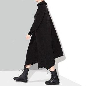Image 2 - מוצק שחור אישה סתיו חורף ארוך אסימטרית סרוג סוודר שמלה מלא שרוול בתוספת גודל למתוח גבירותיי שמלת Robe סגנון 1803