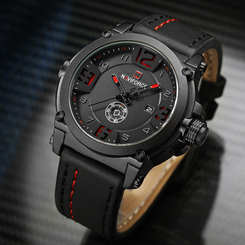 Image 1 - NAVIFORCE Sport Men Watch Leather Strap Waterproof Shockproof Best Male Watch Brands With Dates Man Watches 2019 Brand Luxury-in Quartz Watches from Watches