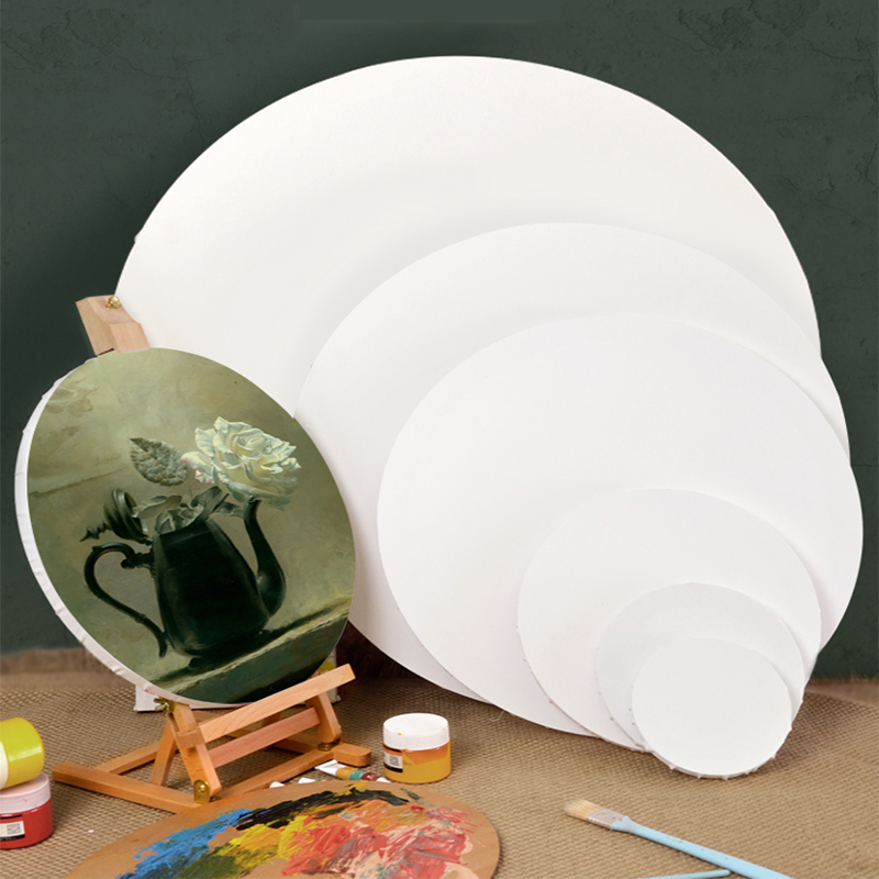 DIY wooden photo frame blank 6/8/12/16 inch round canvas board acrylic primer oil painting panel art student student painter hom