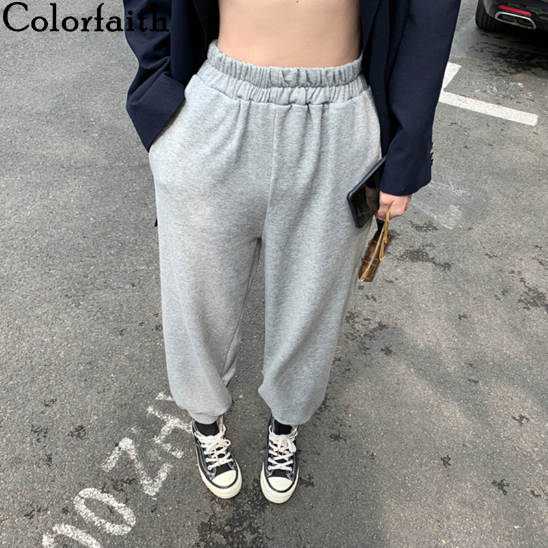 Colorfaith 2019 Summer Women Pants High Elastic Waist Casual Pockets Sweat Sports joggers Harem Thin Loose Wild Trousers P4057