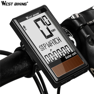 Image 1 - 태양 전지 5 개 언어 무선 자전거 컴퓨터 자동 켜기/끄기 사이클링 속도계 주행 거리계 방수 백라이트 자전거 스톱워치