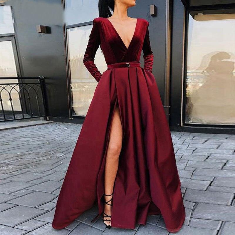 Winter 2020 Prom Party Evening Dresses Pocket Vestido De Noiva Sereia Gown Dress Robe De Soiree Vestido Novia Playa Burgundy