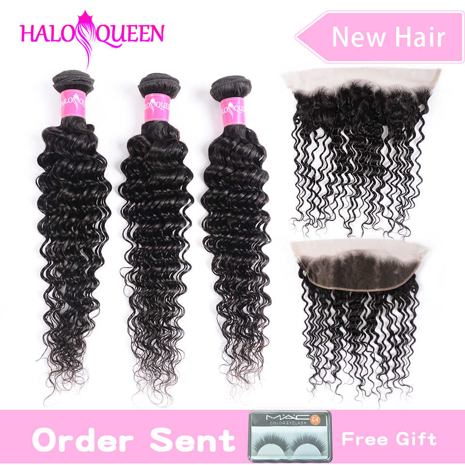 HALOQUEEN deep wave hair 3 bundles with 13*4 frontal remy Brazilian hair bundles with closure human hair frontal with bundles