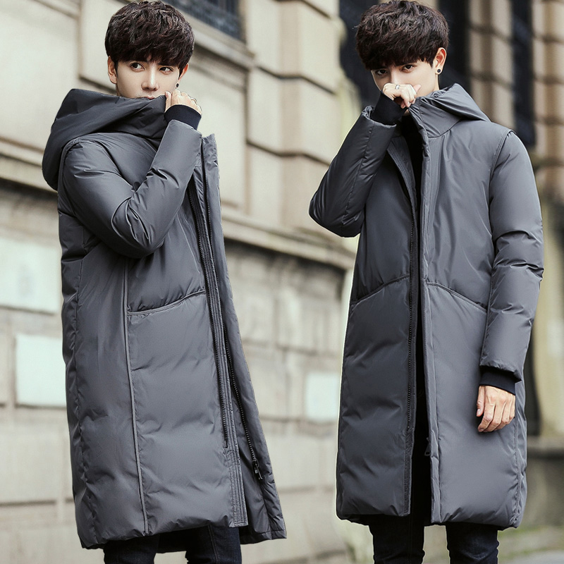 Image 2 - 2019 New Long Down Coat Men Coat Winter Down Jacket Warm Thicken  Hooded Overcoat Comfortable Male Solid ColorDown Jackets   -