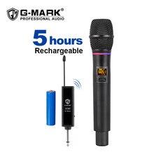 G-MARK x180 uhf microfone sem fio karaoke dinâmico handheld com flash match receiver 50 m de longa distância revceive